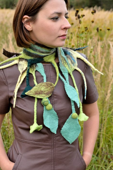 Fantasy nuno felt scarf for women