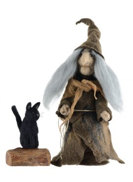 Felt witch figurine with black cat