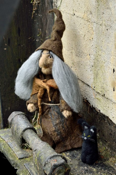 Needle felted witch with black cat