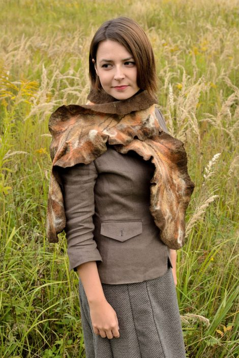 Nuno felted brown fall scarf