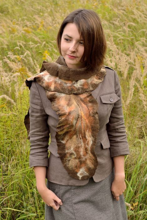 Warm autumn scarf for women made in nuno felting technique