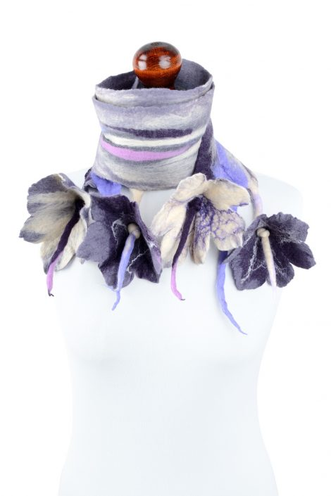 Nuno felted scarf with romantic flowers