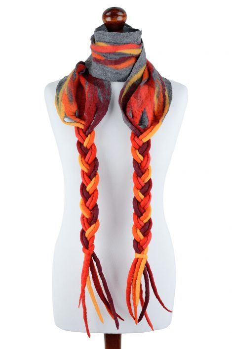Red scarf with long braids