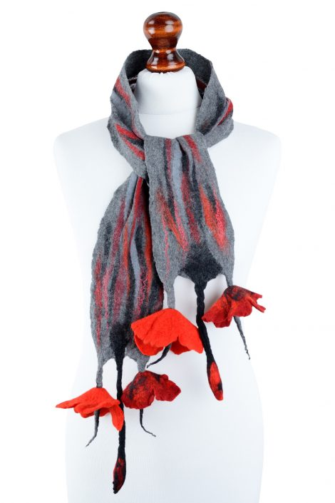 Romantic nuno felt scarf for women