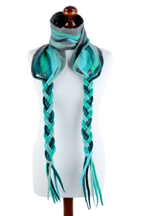 Turquoise scarf with long braids