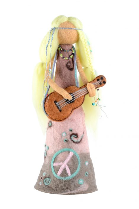 Flower power girl with guitar
