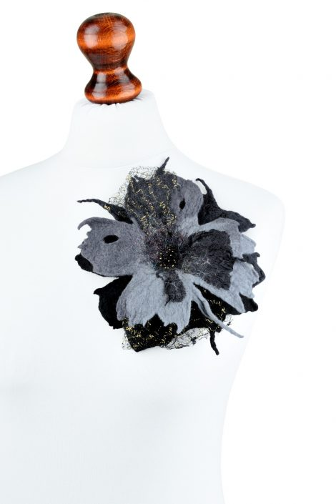 Gothic felt brooch in black and gray