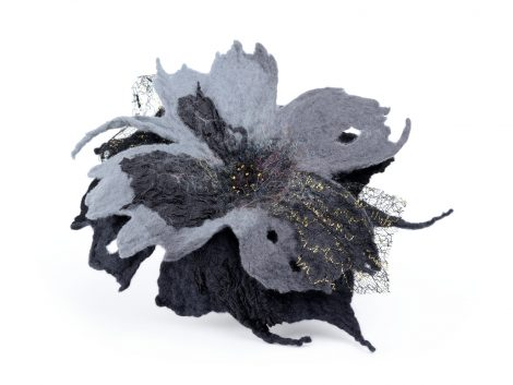 Gothic felted brooch
