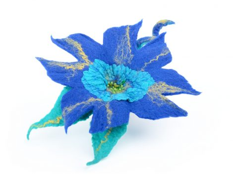 Blue felted flower brooch