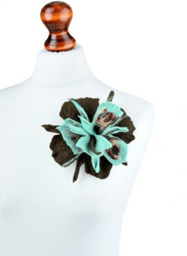 Brown felted brooch with turquoise center