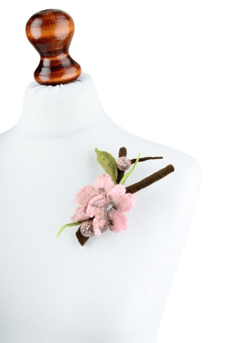 Cherry blossom brooch with a twig and pink flowers
