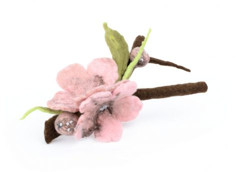 Cherry blossom pin with a tree branch and pink flowers