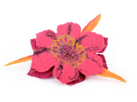 Exotic pink felt brooch