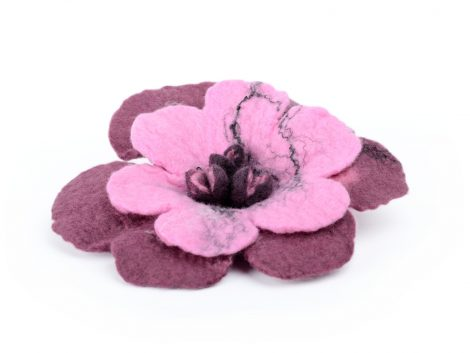 Felt flower brooch in romantic style in pink and sangria color