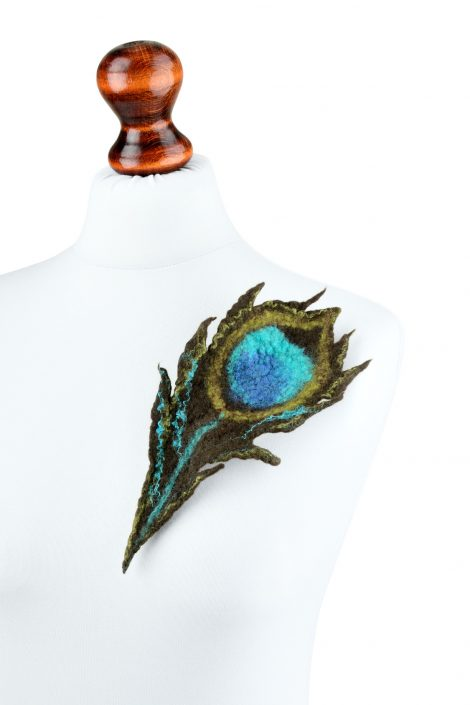 Felt peacock brooch