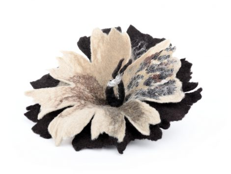 Felted brooch in brown and beige