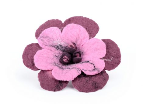 Felted flower brooch in pink and reddish purple