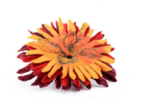Felted flower brooch in red and orange