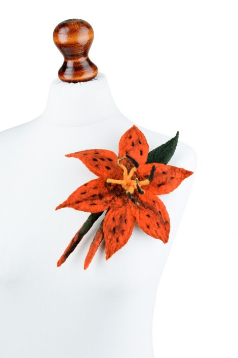Large tiger lily brooch made in felting technique