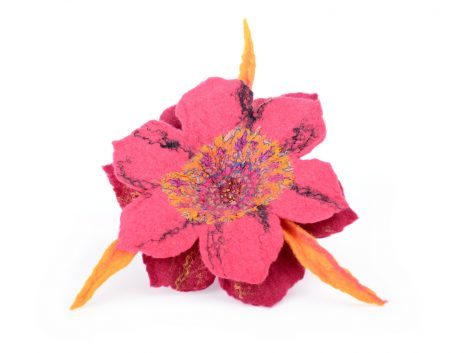 Pink felted brooch