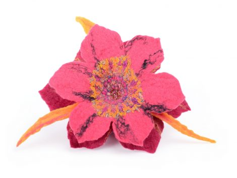 Pink flower brooch in Bollywood style