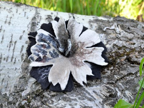 Felted brown flower brooch