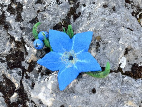 Felted forget-me-not brooch