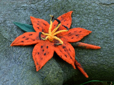Orange felt brooch
