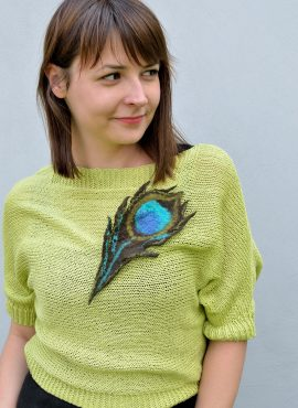 Felt peacock brooch with turquoise eye