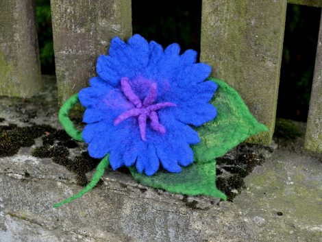 Felted cornflower brooch