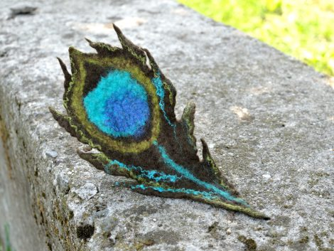 Felted peacock brooch with turquoise eye