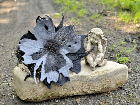 Gothic brooch in gray and black