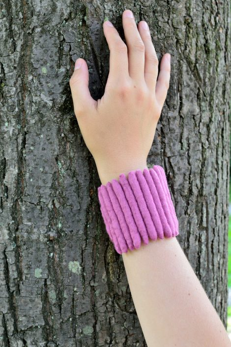 Pink felt cuff with ladder design