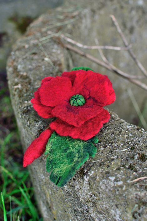 Red felted brooch