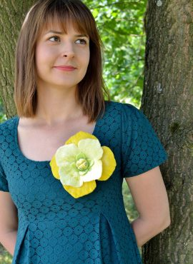 Yellow felt brooch for women and girls
