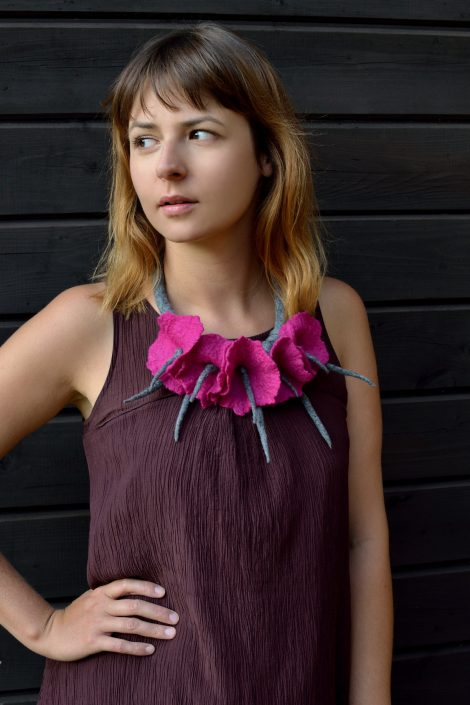 Felted flower necklace in pink and gray