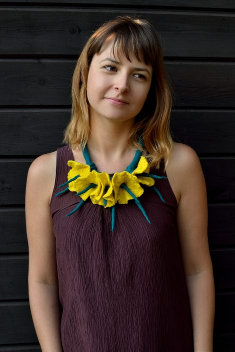 Felted flower necklace in yellow and green