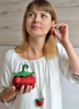 Kawaii jewelry set for women and girls who love red strawberries