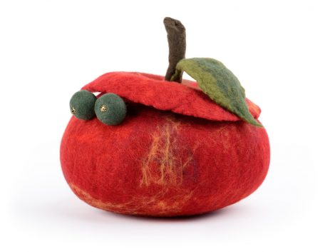 Red apple container to keep jewelry