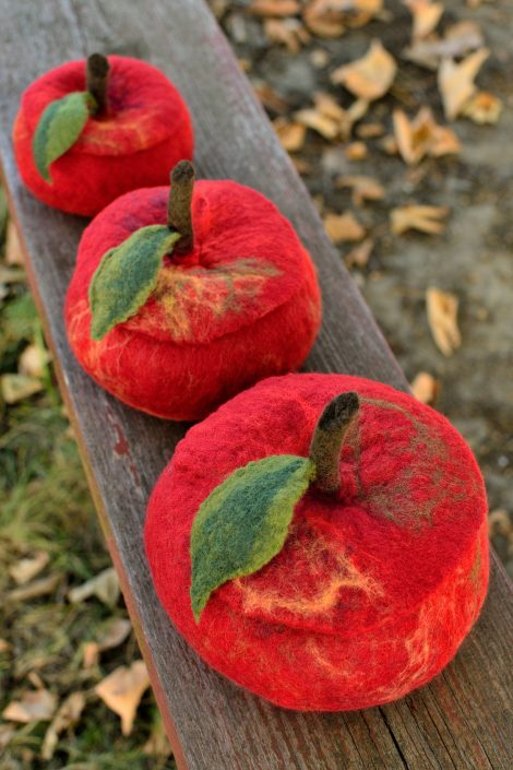 Red felted apple boxes with covers