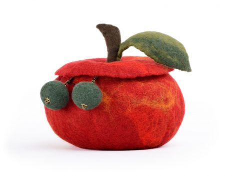 Small red jewelry box with apple shape made in felting technique
