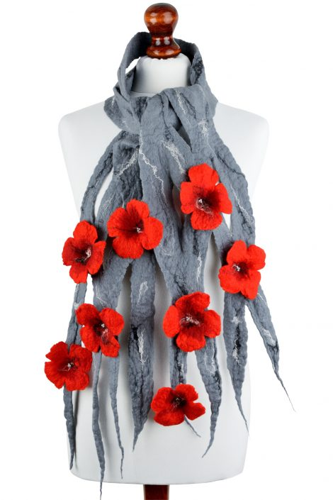 Gray felted scarf with red flowers