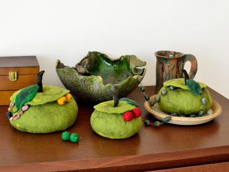 Green home decor boxes with apple shape