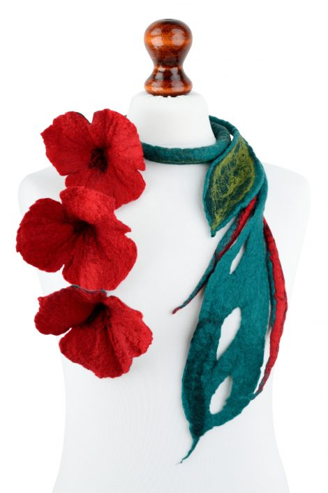 Statement red flower necklace with rope design and felted leaves