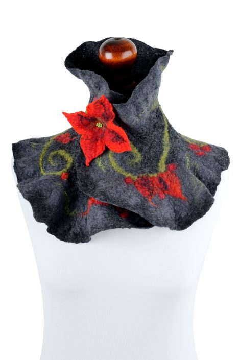 Charcoal neck warmer for women with floral pattern and red flower brooch