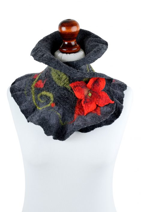 Felted neck warmer for women in dark gray