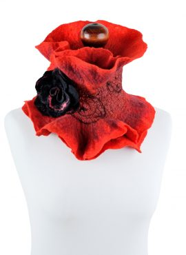 Red wool neck warmer for women made in nuno felting technique