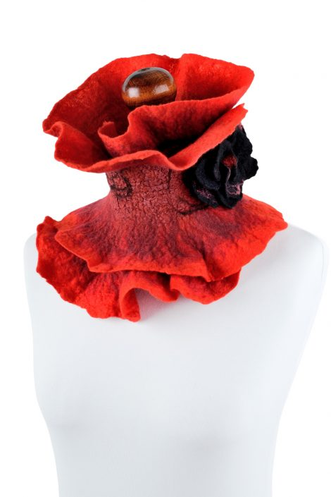 Red wool neck warmer with black rose brooch