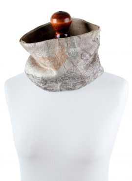 Beige tube scarf for women with marble texture