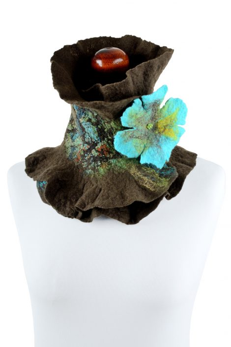 Brown neck warmer for women with turquoise flower
